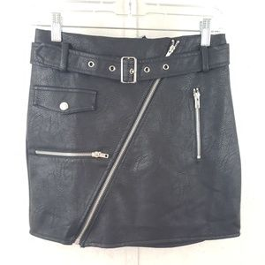 Fashion Nova Shes a Rider Moto Faux Leather Skirt